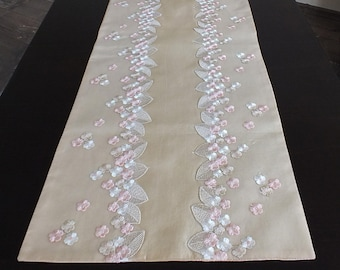 Decorative table runner silk and embroidered lace Cream gold pink Long tablerunner Dining table decor Table runners wedding decor Custom