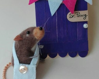 Needle felted mouse/mouse Pérez/made of wool/needle felt