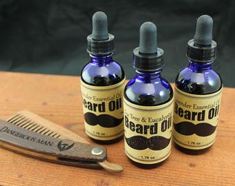 Beard Oil - Lavender, Tea Tree & Eucalyptus Essential oil scented / Hempseed Oil, Jojoba oil, Grapeseed oil Base