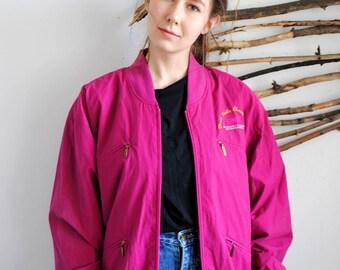 Vintage pink bomber 1990s 1980s spring jacket Leonardo Made in Finland