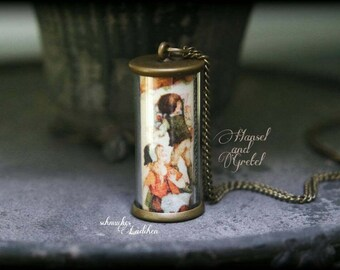 "On ""Hansel and Gretel"" FairyTale antique bronze glass cylinder fairy necklace"