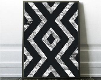Geometric Decor Print, Marble Design, Black and White Geometric Wall Print, Printable Geometric Art, Instant Download, Geometric Designs