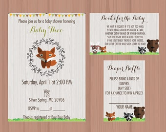 woodland animals baby shower invitation suite fox bear deer raccoon
