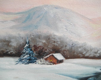 Vintage Signed  Painting on Canvas Winter Scene Home Decor Wall hanging Collectible