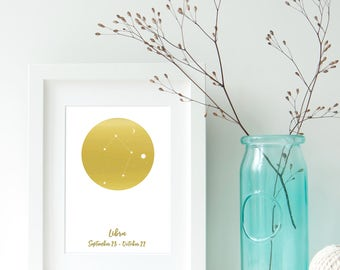 Libra Zodiac Constellation Alternative, Astrology, Star Signs, Horoscope. Real Foil Print. Home Decor. Homemade Gift. Love. Personalised,