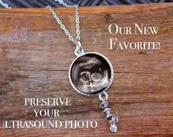 Sonogram Necklace, Baby Ultrasound, Necklace, It's a, Birth, Personalized, Pendant, Double Sided, Custom Ultrasound, Sonogram Jewelry