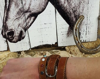 Leather wrap cuff bracelet. Hand made. Vintage leather. Bohemian Cowgirl Collection