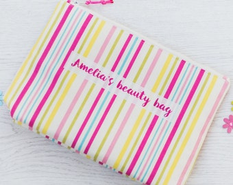 Personalised Striped Design Wash Bag, toiletry bag - large make up bag - gift for her - gift for teenagers - personalized toiletry bag