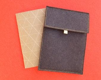 Book / / pouch / / handmade / / gift / / felt / / Brown