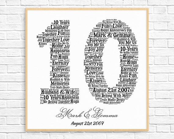 What Is 10th Wedding Anniversary Gift: PERSONALIZED 10TH ANNIVERSARY Gift Word Art Printable Art