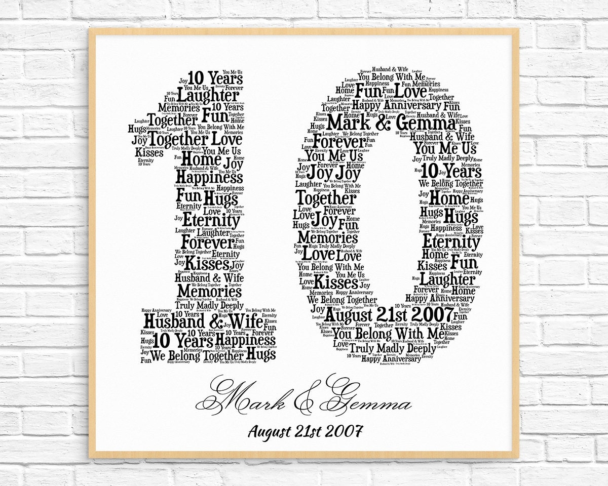 What Is 10 Year Wedding Anniversary Gift: PERSONALIZED 10TH ANNIVERSARY Gift Word Art Printable Art
