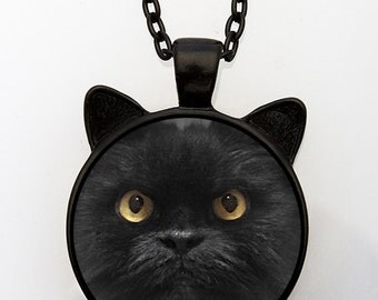 Grumpy Black Cat Pendant With Ears, Grumpy Cat Pendant, Cat Lover Gift, Grumpy Cat Necklace