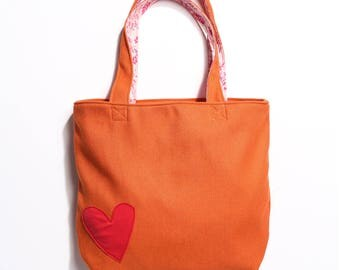 Canvas Orange Tote Bag