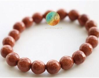 Goldstone Bracelet, 7mm Genuine Faceted Goldstone bracelet, Healing Crystal Bracelet, Goldstone Jewelry, Sun - Help attain one's goals!