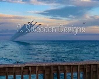 US Navy Blue Angels Pensacola Beach Sunset Flyover 8x10 Photograph!