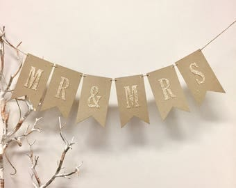 Kraft 'MR & MRS' bunting with gold glitter letters
