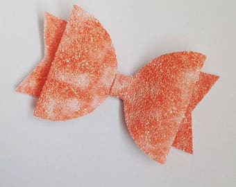 Girls summer bow, orange hair bow