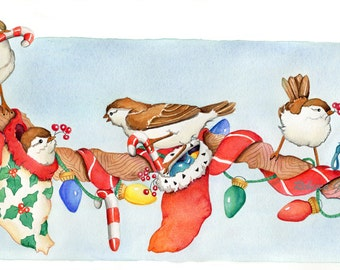 Merry Christmas greeting cards with birds on branch 10 pack greeting cards