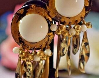 Gorgeous Huge Vintage IKARAMI Black, White and Gold Dangle Runway Earrings
