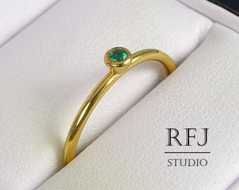 Yellow Gold  Lab Emerald Ring, May Birthstone 2 mm Green CZ 24K Yellow Gold Plated Stacking Ring, Gold Emerald Ring Stackable Gold Ring