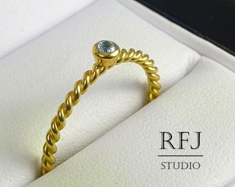Natural Swiss Topaz Golden Rope Ring, December Birthstone 24K Yellow Gold Plated Ring, 2 mm Round Cut Swiss Blue Topaz Twisted 24K Gold Ring