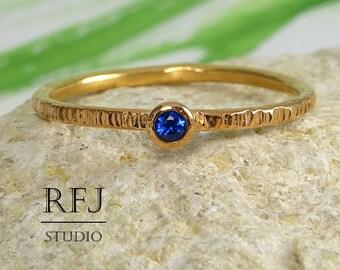 Textured Sapphire 14K Gold  Ring, September Birtstone 2 mm Blue Corund Lab Sapphire 14K Rose Gold Plated Ring Rose Gold Sapphire Stacker