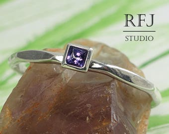 Square Lab Amethyst Faceted Silver Ring, Square Setting Promise Stacking February  Ring, Princess Cut 2x2 mm Purple CZ Tiny Solitaire Ring