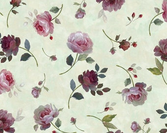 """Floral Fabric, Rose Fabric: Rosewater Tossed Roses Sage by Quilting Treasures   100% cotton Fabric by the yard 36""""x44"""" (N653)"""
