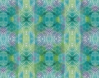 """INSPIRATIONAL KALEIDOSCOPE Stripes Dark Turquoise by Quilting Treasures 100% cotton fabric by the yard 36""""x43"""" (N581)"""