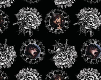 IN STOCK New Disney Pirates of the Caribbean Fabric - Captain Jack Sparrow and pirates skull 100% cotton fabric  SC358