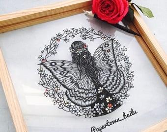 Original Papercut – Handcut – Papercutting – Paper Cutting Art – Paper Illustration – Paper Art – Gift for Her – Butterfly Girl - Unframed