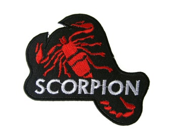 Scorpion Embroidered Applique Iron on Patch 8.8 cm. x 8.3 cm.