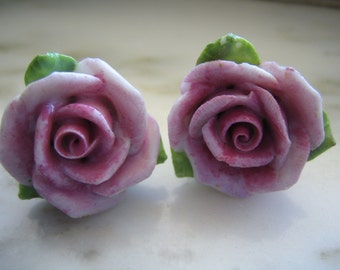 Vintage Coro Porcelain Roses Screw Back Earrings