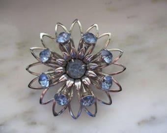 Vintage Silver Tone & Blue Rhinestone Flower Pin or Brooch