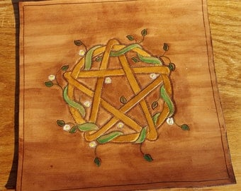 Pentacle Altar Mat - Tooled Leather Gold Pentacle with Flowering Vines - Pentacle Mat