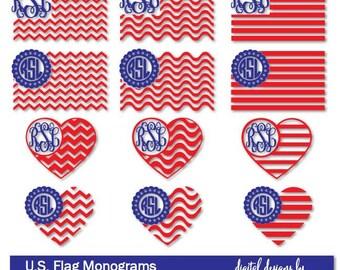 SALE! Flag SVG dxf jpg png cut file   U.S. Flag Monogram   Flag Heart Monogram   4th of July Monogram Frames   U.S. Flag Digital Download
