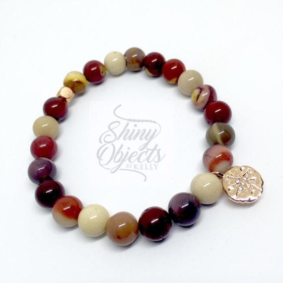 Mookaite Stretch Bangle with Rose Gold North Star Pendant