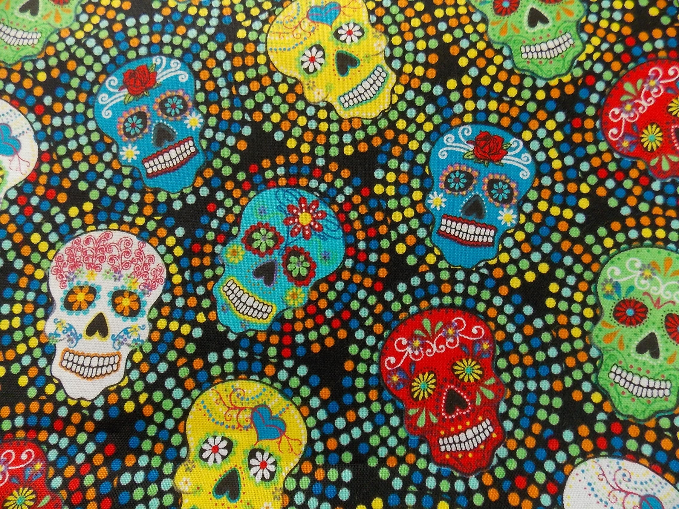Mexican fabric day of the dead fabric skull fabric cotton for The fabric of