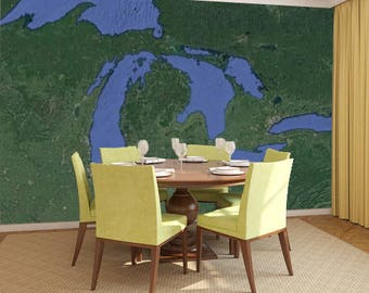 Michigan Aerial Map & Charts Wall Murals - Entire USA Available