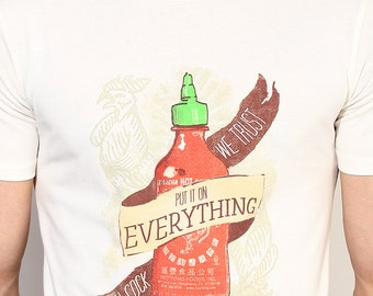 Sriracha T Shirt. Sriracha Men's Hot Chili Sauce T-Shirt. Printed Tees. Organic Cotton T-Shirts.