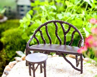 Miniature Dollhouse FAIRY GARDEN ~ Wildwood Fairy Bench ~ NEW