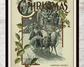 Instant Download,Vintage Christmas,Vintage Santa Claus,St. Nick,Christmas Printable,Sleigh,Reindeer,Holly,Christmas Wall Art,Winter Wall Art