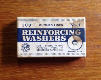 Vintage packaging for gummed linen Reinforcing Washers , British made by The Ivy Series