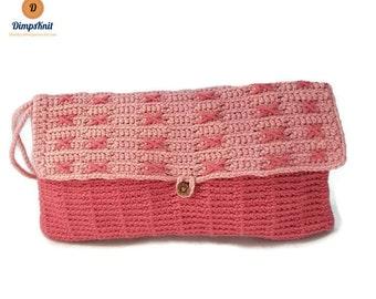 X's Pink & White Crochet Wristlet