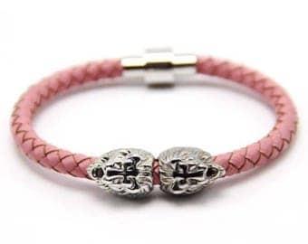 Lion Bracelet Silver / Pink Nappa Leather