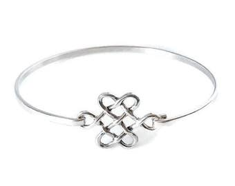 Sterling silver celtic bangle/Handmade/Solid silver