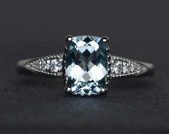 cushion cut aquamarine engagement ring blue aquamarine rings gemstone ring silver March birthstone ring