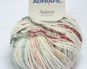 Asterix Chunky wool/alpaca/acrylic/nylon knitting yarn (Col. 070-005 white base) by Adriafil in 50g balls