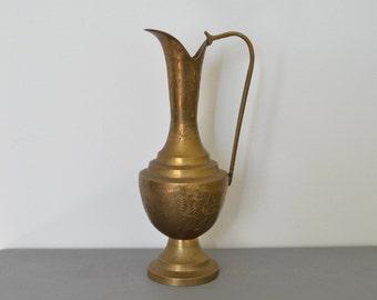 Brass, engraved  jug/ stem vase/ vase, vintage decor, hand-made from India