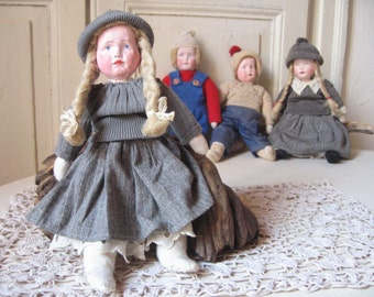 Old doll cloth and clay / hand painted / old toy / Rag Doll / Folk Art / antique French Collection
